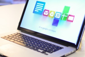 A laptop with Google Apps